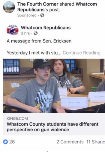 Screenshot photo (taken on March 22, 2018) of The Fourth Corner Facebook page's initial sponsored Facebook ad featuring the shared March 22, 2018, Whatcom Republicans Facebook page post about Senator Doug Ericksen's March 21, 2018 visit to Meridian High School