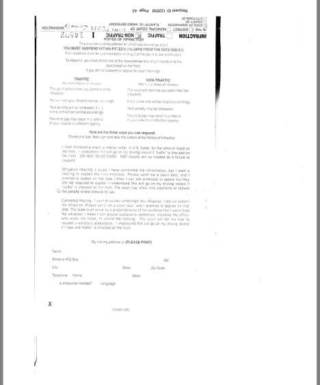 Reverse of Civil Infraction Ticket