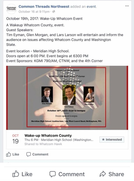 "Screenshot photo of Facebook event poster for the October 19, 2017 ""Wake-Up Whatcom County Rally!"" held at Meridian High School, in Bellingham, Washington"