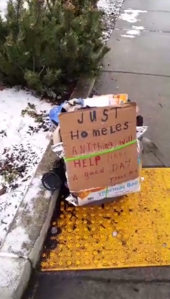 just homeless sign