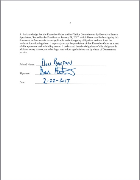 Screenshot photo of a copy of Don Benton's signed ethics pledge which was released by the EPA as a result of a FOIA request made by the Center for Media and Democracy.