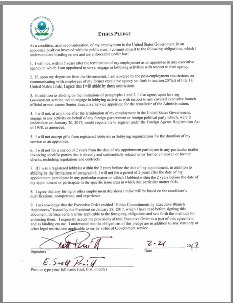 Screenshot photo of a copy of Scott Pruitt's signed ethics pledge which was released by the EPA as a result of a FOIA request made by the Center for Media and Democracy.
