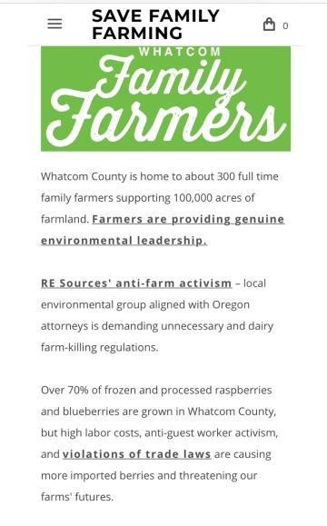 whatcom family farmers against RE an C2C