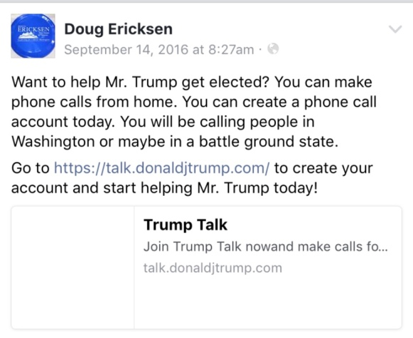 Ericksen FB get Trump elected