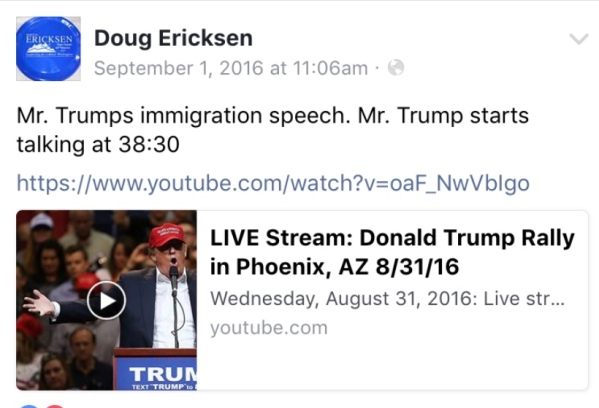 Ericksen FB Trump immigration speech
