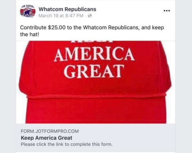 Screenshot of a March 19, 2019, post displayed on the Whatcom Republicans' Facebook page promoting Keep America Great hats given to contributors of $25.00 to the Whatcom County Republican Party's bona fide political party committee