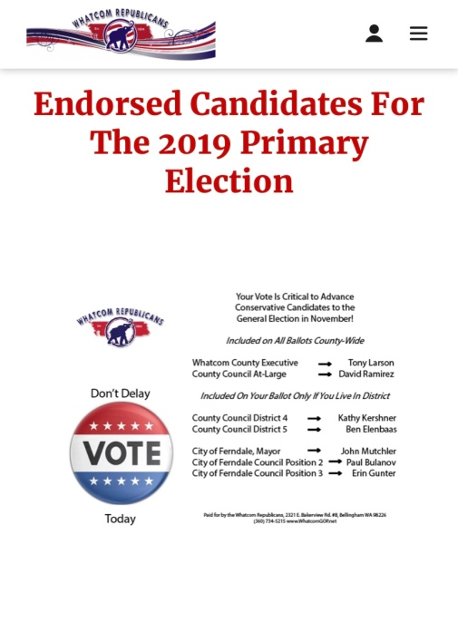 Whatcom GOP endorsed candidates