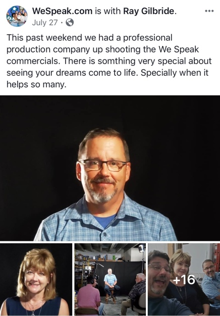 Screenshot photo of Tom Eichhorn taken while recording a video promoting We Speak. Photos were displayed in a July 27, 2019 post on the WeSpeak.com Facebook page. Eichhorn was one of the individuals featured in the video.