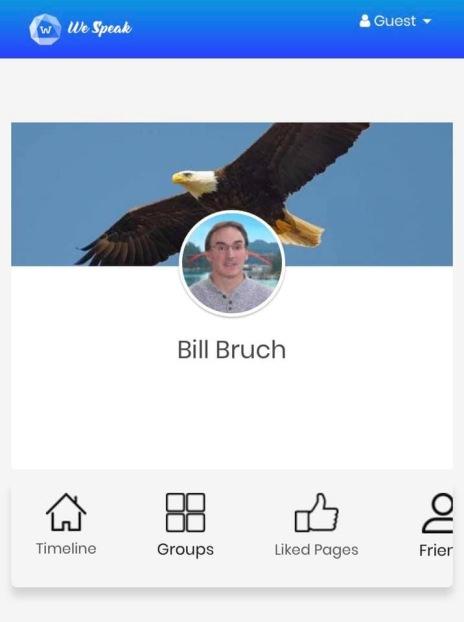 Screenshot photo of Skagit County Republicans chairman Bill Bruch's We Speak profile page