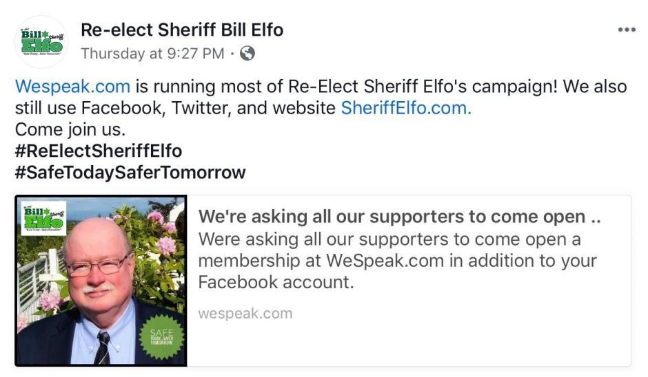 Re-elect Sheriff Bill Elfo FB We Speak