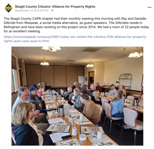 Screenshot photo of a September 14, 2019 post displayed on Skagit County Citizens' Alliance for Property Rights' Facebook page regarding Skagit CAPR's monthly meeting held at Skagit Valley's Farmhouse Restaurant, at which, Ray and Danielle Gilbride were guest speakers