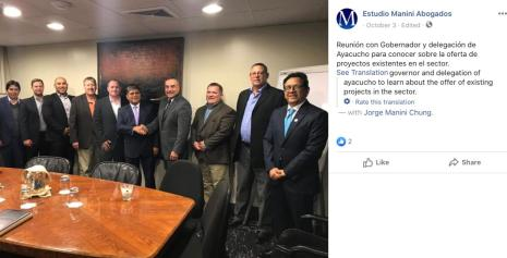 Screenshot of photo accompanying an October 3, 2019 post displayed on Estudio Manini Abogados' Facebook page