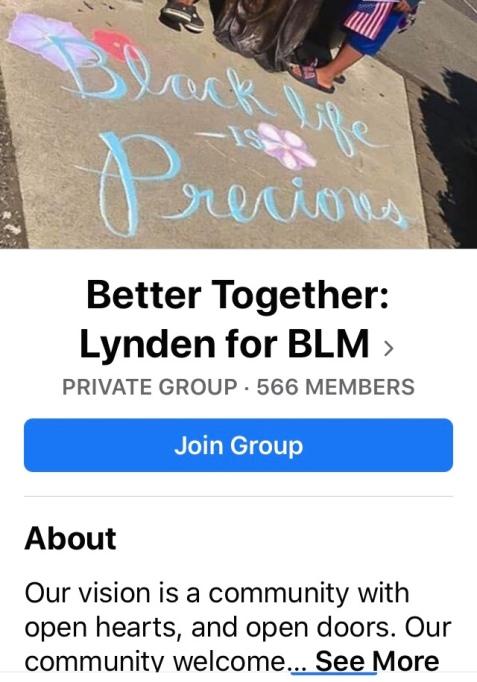Better Together Lynden for BLM Facebook page
