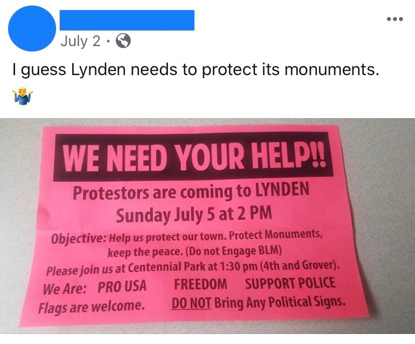 We need your help flyer Lynden July 2020